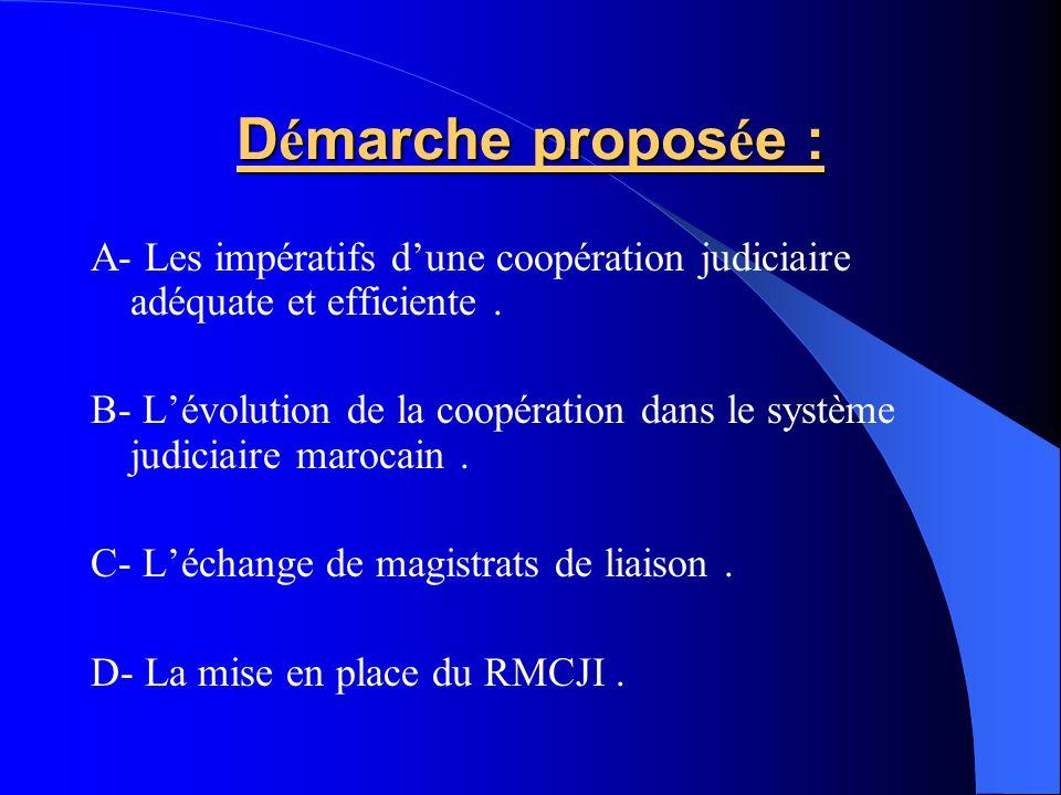 D é marche propos é e : A- Les impératifs dune coopération judiciaire adéquate et efficiente. B- Lévolution de la coopération dans le système judiciai