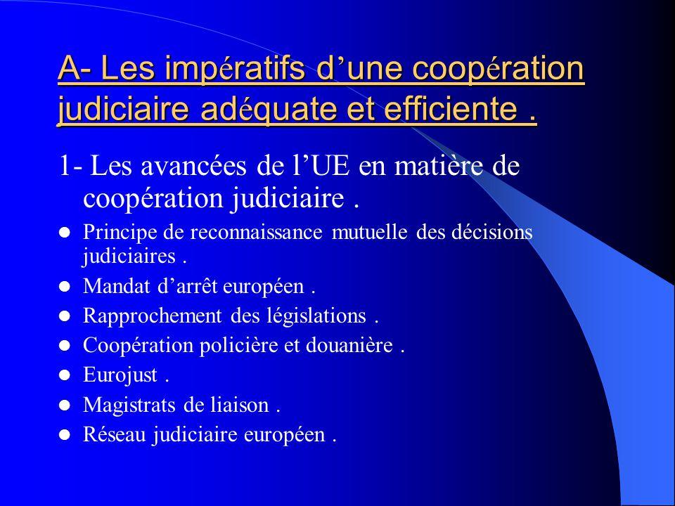 A- Les imp é ratifs d une coop é ration judiciaire ad é quate et efficiente. 1- Les avancées de lUE en matière de coopération judiciaire. Principe de