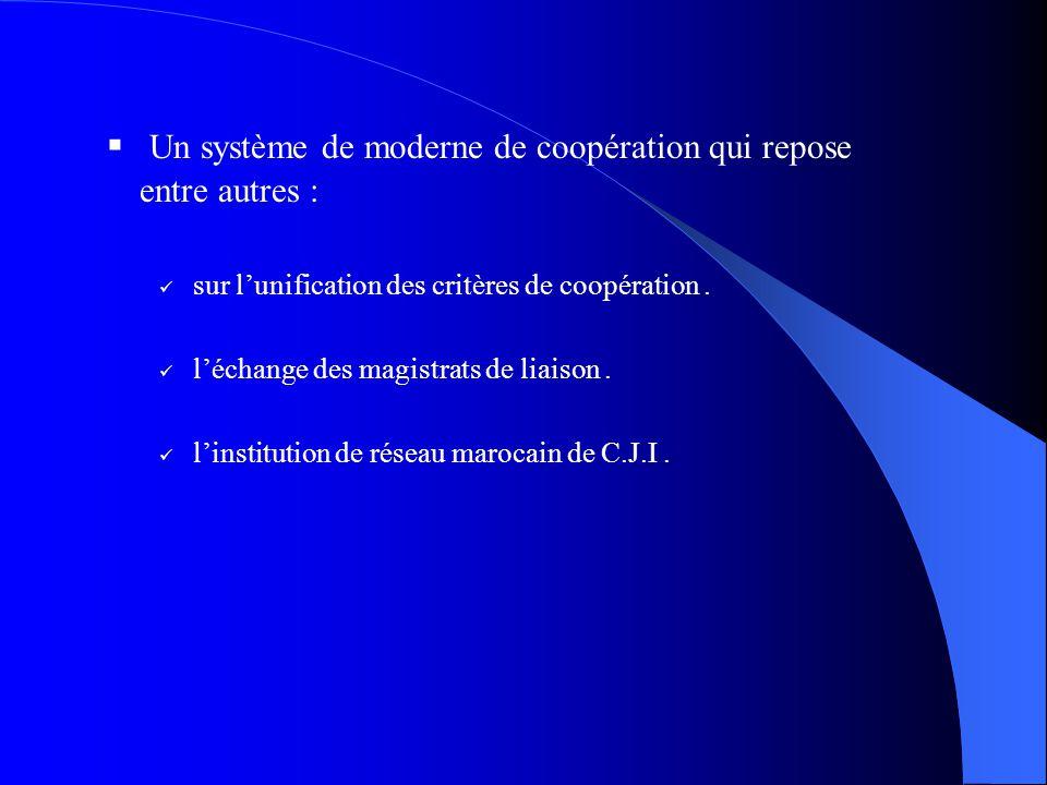 Un système de moderne de coopération qui repose entre autres : sur lunification des critères de coopération. léchange des magistrats de liaison. linst