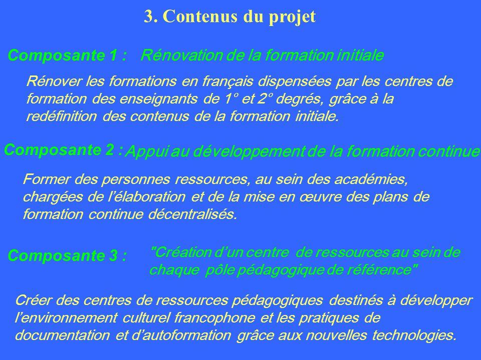 Composante 1 : Rénovation de la formation initiale Composante 2 : Appui au développement de la formation continue Composante 3 : Création dun centre de ressources au sein de chaque pôle pédagogique de référence 3.
