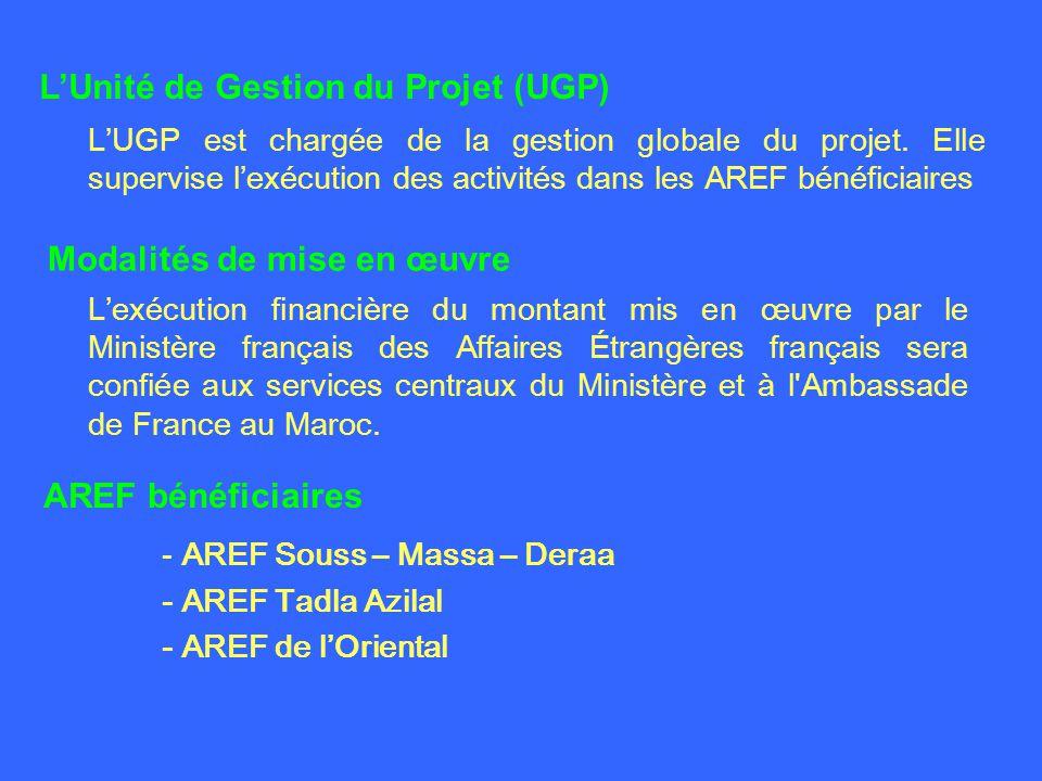 - AREF Souss – Massa – Deraa - AREF Tadla Azilal - AREF de lOriental AREF bénéficiaires Modalités de mise en œuvre Lexécution financière du montant mis en œuvre par le Ministère français des Affaires Étrangères français sera confiée aux services centraux du Ministère et à l Ambassade de France au Maroc.