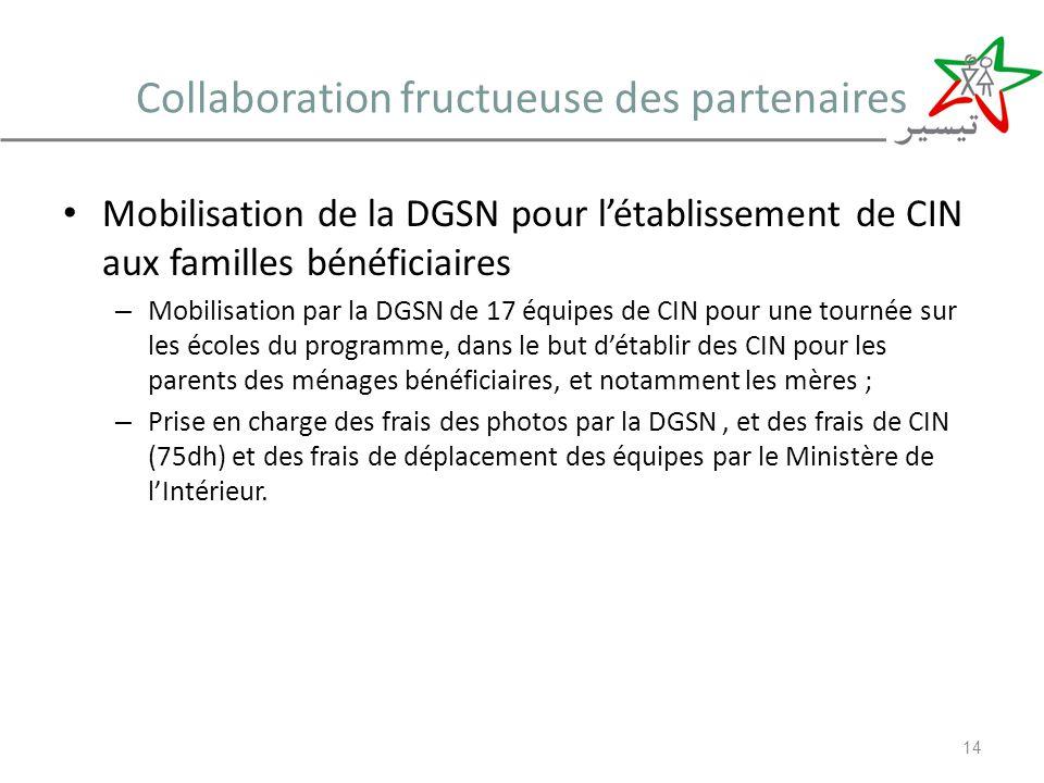 Collaboration fructueuse des partenaires Mobilisation de la DGSN pour létablissement de CIN aux familles bénéficiaires – Mobilisation par la DGSN de 1