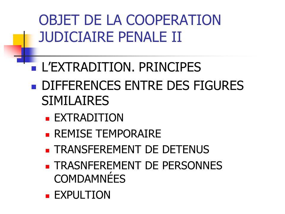 OBJET DE LA COOPERATION JUDICIAIRE PENALE II L EXTRADITION PRINCIPES ET CONDITIONS LES PRINCIPES DE L EXTRADITION DOUBLE INCRIMINATION LE MINIMUM PUNITIVE PRINCIPE D ACCESORIETE PRINCIPE DE SOUVERAINETE L ORDRE PUBLIQUE: DROITS FONDAMENTAUX, DELIT POLITIQUES, MILITAIRES LA NON EXTRADITION DES RESSORTISSANTS LE NON BIS IN IDEM PRINCIPE DE ESPECIALITÉ