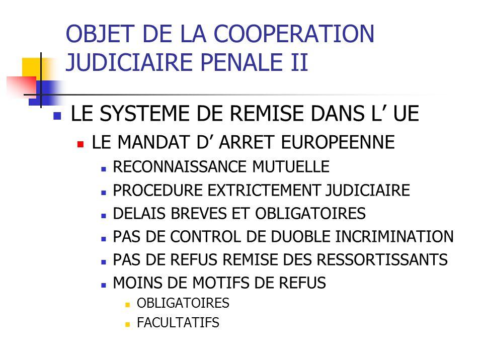OBJET DE LA COOPERATION JUDICIAIRE PENALE II LE SYSTEME DE REMISE DANS L UE LE MANDAT D ARRET EUROPEENNE RECONNAISSANCE MUTUELLE PROCEDURE EXTRICTEMENT JUDICIAIRE DELAIS BREVES ET OBLIGATOIRES PAS DE CONTROL DE DUOBLE INCRIMINATION PAS DE REFUS REMISE DES RESSORTISSANTS MOINS DE MOTIFS DE REFUS OBLIGATOIRES FACULTATIFS