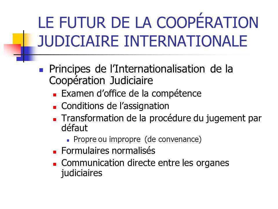 LE FUTUR DE LA COOPÉRATION JUDICIAIRE INTERNATIONALE Principes de lInternationalisation de la Coopération Judiciaire Examen doffice de la compétence C