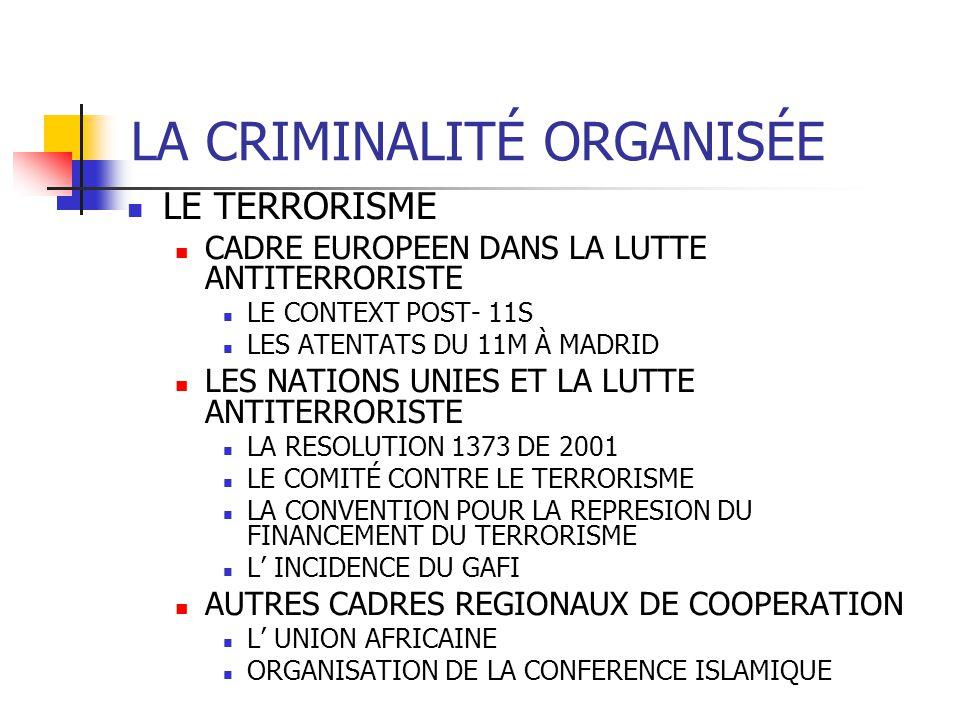 LA CRIMINALITÉ ORGANISÉE LE TERRORISME CADRE EUROPEEN DANS LA LUTTE ANTITERRORISTE LE CONTEXT POST- 11S LES ATENTATS DU 11M À MADRID LES NATIONS UNIES