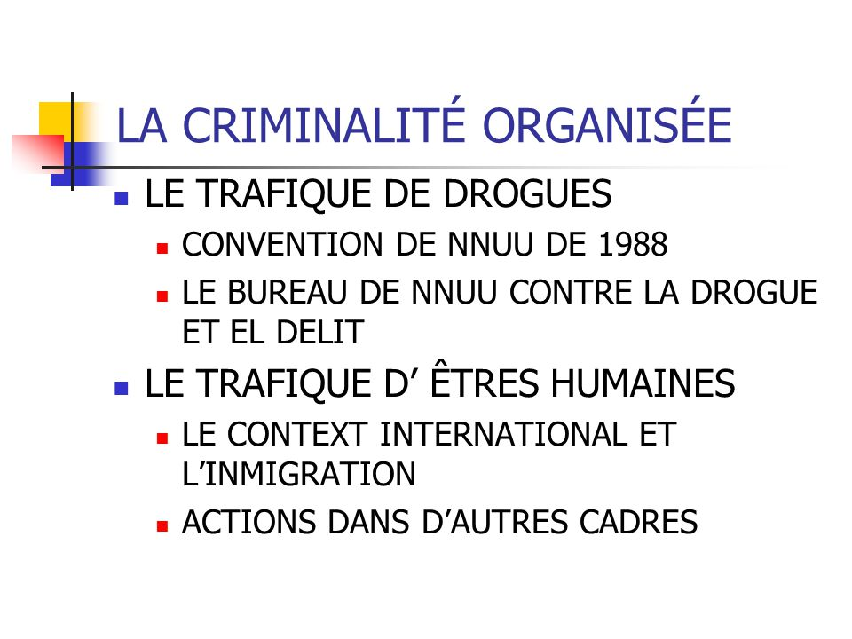 LA CRIMINALITÉ ORGANISÉE LE TRAFIQUE DE DROGUES CONVENTION DE NNUU DE 1988 LE BUREAU DE NNUU CONTRE LA DROGUE ET EL DELIT LE TRAFIQUE D ÊTRES HUMAINES