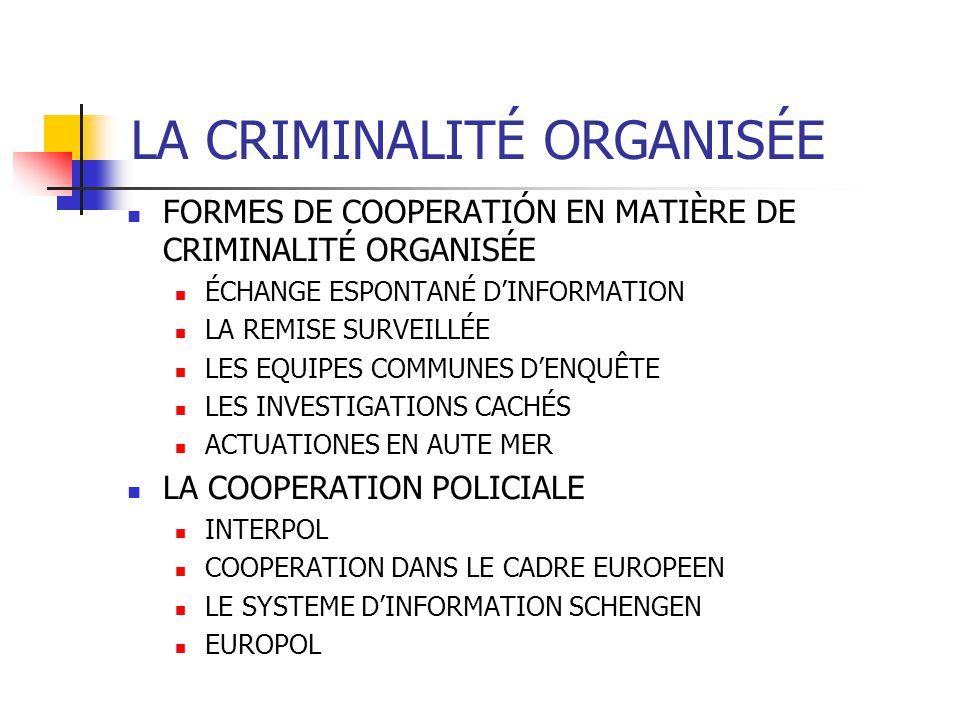LA CRIMINALITÉ ORGANISÉE FORMES DE COOPERATIÓN EN MATIÈRE DE CRIMINALITÉ ORGANISÉE ÉCHANGE ESPONTANÉ DINFORMATION LA REMISE SURVEILLÉE LES EQUIPES COM