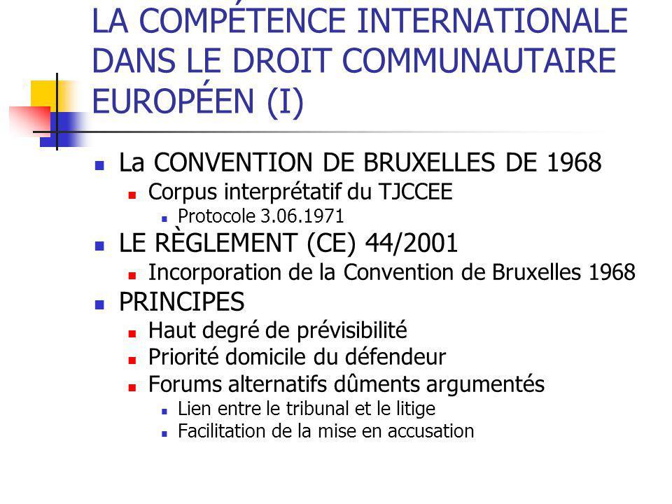 LA COMPÉTENCE INTERNATIONALE DANS LE DROIT COMMUNAUTAIRE EUROPÉEN (I) La CONVENTION DE BRUXELLES DE 1968 Corpus interprétatif du TJCCEE Protocole 3.06.1971 LE RÈGLEMENT (CE) 44/2001 Incorporation de la Convention de Bruxelles 1968 PRINCIPES Haut degré de prévisibilité Priorité domicile du défendeur Forums alternatifs dûments argumentés Lien entre le tribunal et le litige Facilitation de la mise en accusation