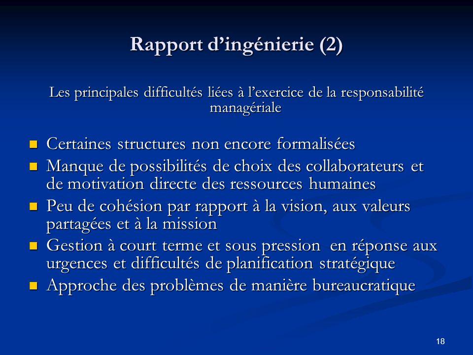 18 Rapport dingénierie (2) Les principales difficultés liées à lexercice de la responsabilité managériale Certaines structures non encore formalisées