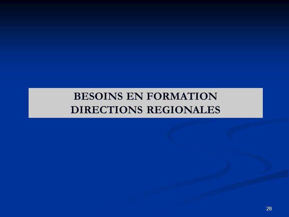 28 BESOINS EN FORMATION DIRECTIONS REGIONALES