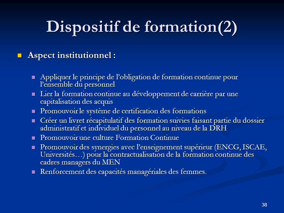 38 Dispositif de formation(2) Aspect institutionnel : Aspect institutionnel : Appliquer le principe de lobligation de formation continue pour lensembl