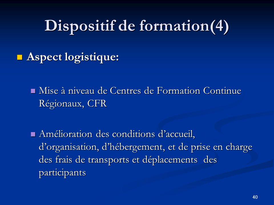 40 Dispositif de formation(4) Aspect logistique: Aspect logistique: Mise à niveau de Centres de Formation Continue Régionaux, CFR Mise à niveau de Cen