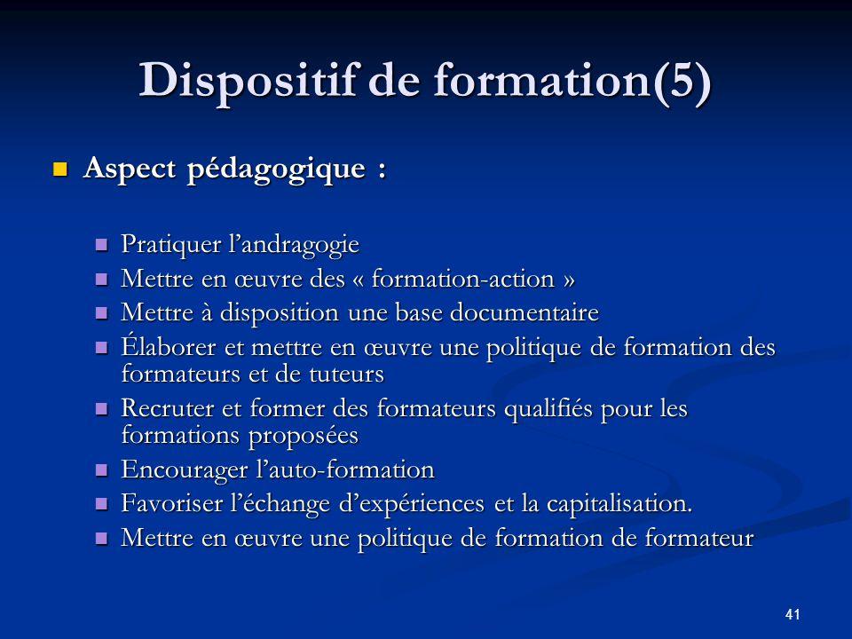 41 Dispositif de formation(5) Aspect pédagogique : Aspect pédagogique : Pratiquer landragogie Pratiquer landragogie Mettre en œuvre des « formation-ac