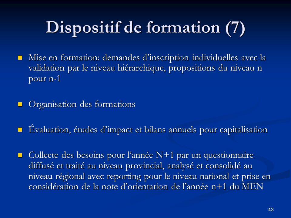 43 Dispositif de formation (7) Mise en formation: demandes dinscription individuelles avec la validation par le niveau hiérarchique, propositions du n
