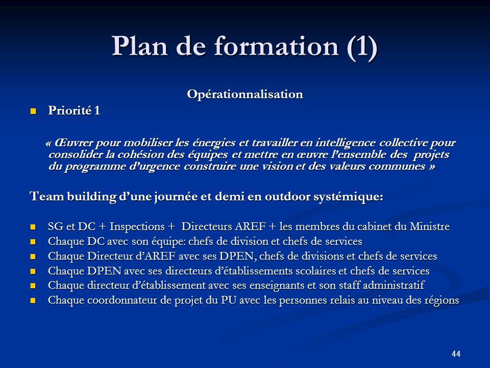 44 Plan de formation (1) Opérationnalisation Priorité 1 Priorité 1 « Œuvrer pour mobiliser les énergies et travailler en intelligence collective pour