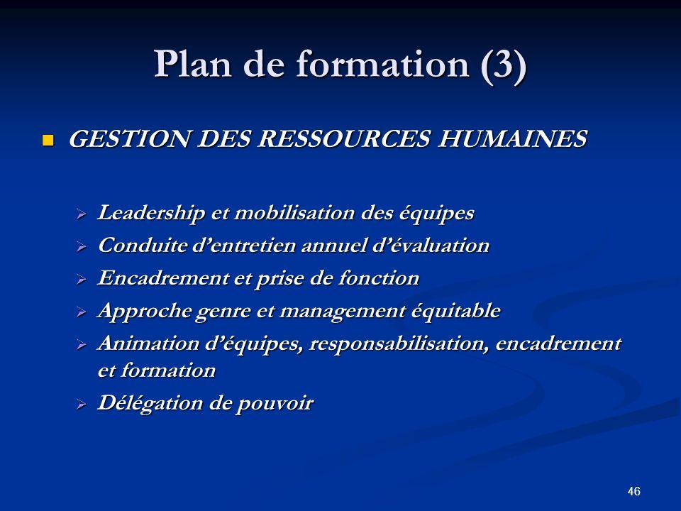 46 Plan de formation (3) GESTION DES RESSOURCES HUMAINES GESTION DES RESSOURCES HUMAINES Leadership et mobilisation des équipes Leadership et mobilisa