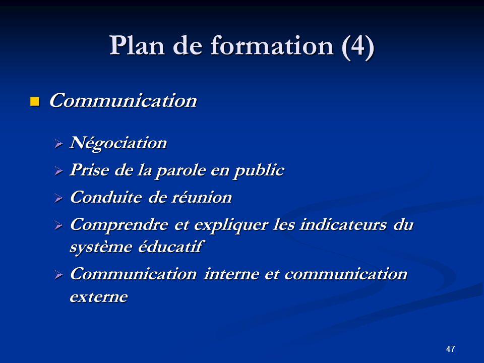 47 Plan de formation (4) Communication Communication Négociation Négociation Prise de la parole en public Prise de la parole en public Conduite de réu
