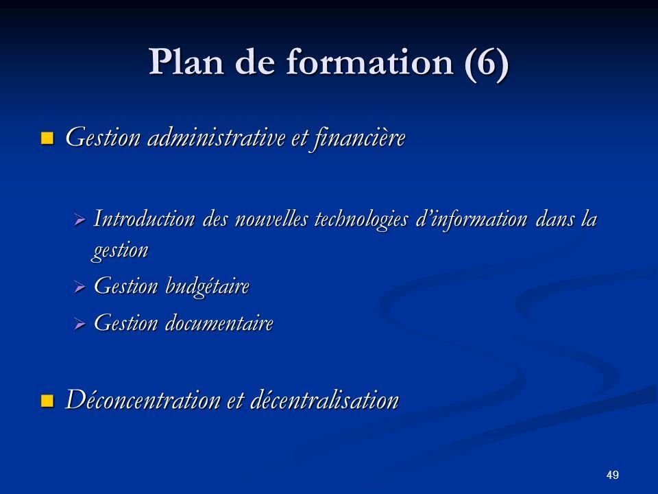 49 Plan de formation (6) Gestion administrative et financière Gestion administrative et financière Introduction des nouvelles technologies dinformatio