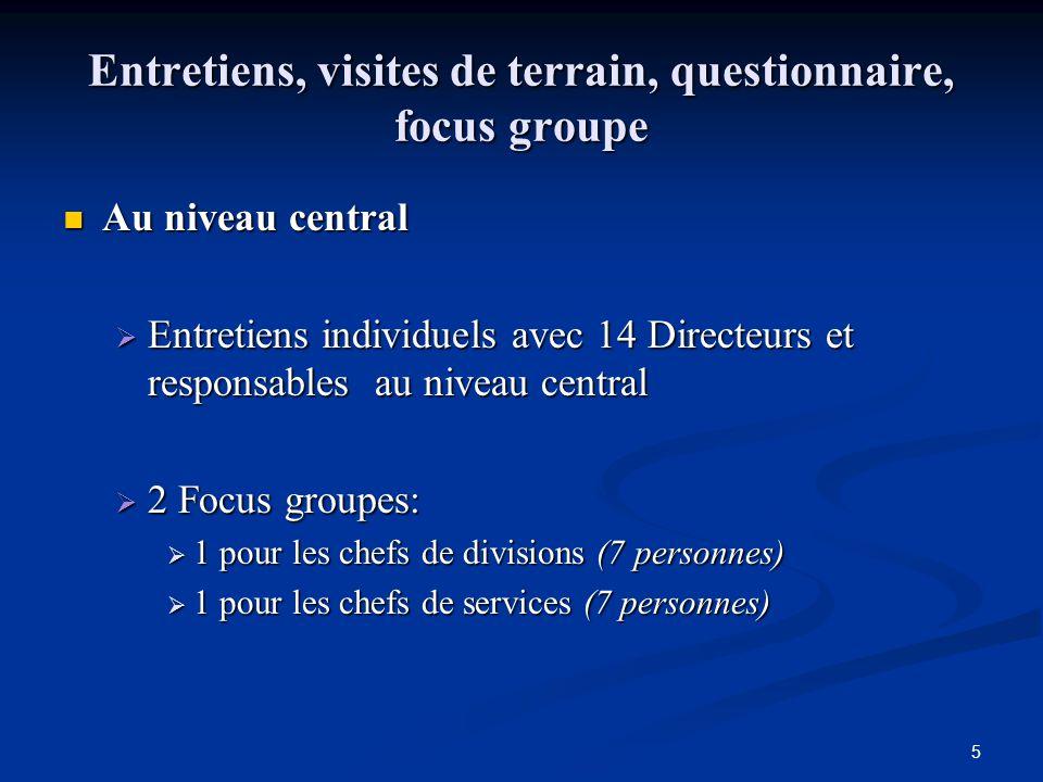 5 Entretiens, visites de terrain, questionnaire, focus groupe Au niveau central Au niveau central Entretiens individuels avec 14 Directeurs et respons