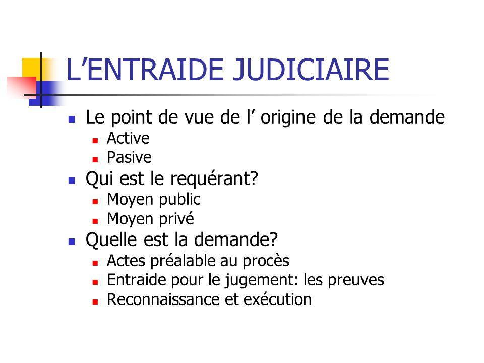 LENTRAIDE JUDICIAIRE Le point de vue de l origine de la demande Active Pasive Qui est le requérant.
