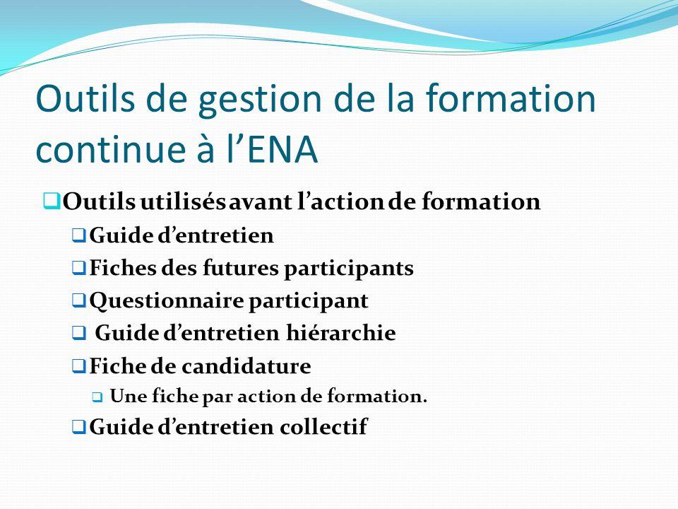 Outils de gestion de la formation continue à lENA Outils utilisés avant laction de formation Guide dentretien Fiches des futures participants Question