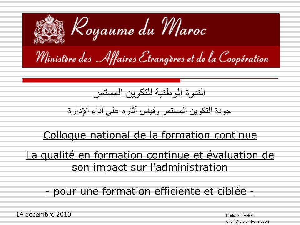 الندوة الوطنية للتكوين المستمر جودة التكوين المستمر وقياس آثاره على أداء الإدارة Colloque national de la formation continue La qualité en formation co