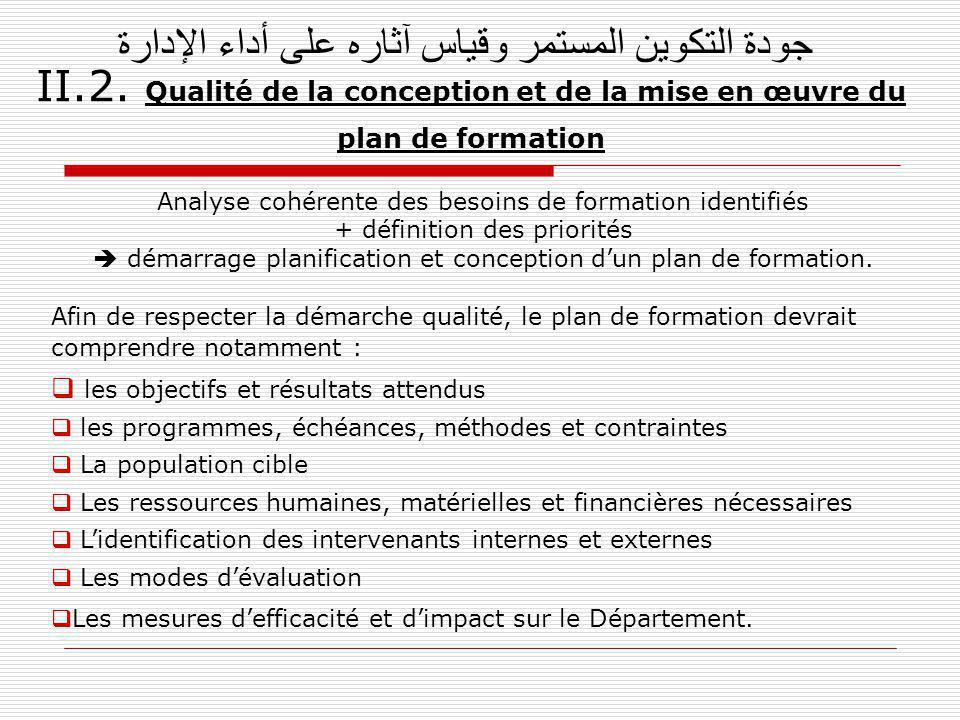 جودة التكوين المستمر وقياس آثاره على أداء الإدارة II.2. Qualité de la conception et de la mise en œuvre du plan de formation Analyse cohérente des bes