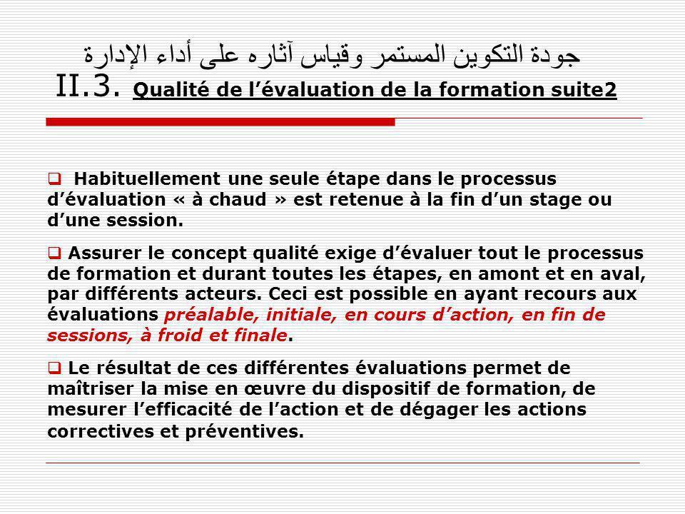 جودة التكوين المستمر وقياس آثاره على أداء الإدارة II.3. Qualité de lévaluation de la formation suite2 Habituellement une seule étape dans le processus