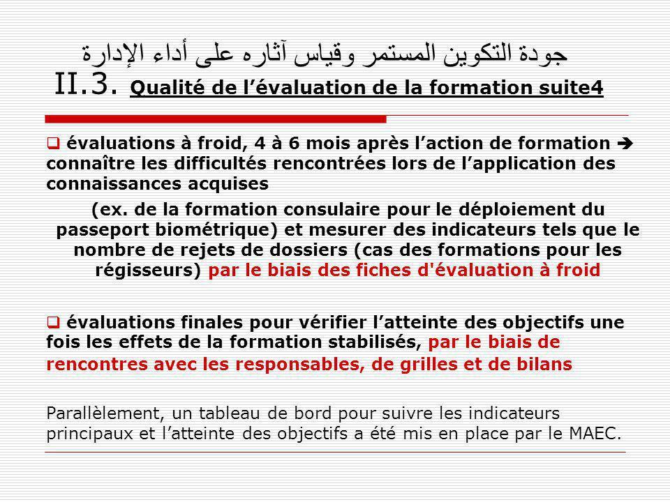 جودة التكوين المستمر وقياس آثاره على أداء الإدارة II.3. Qualité de lévaluation de la formation suite4 évaluations à froid, 4 à 6 mois après laction de