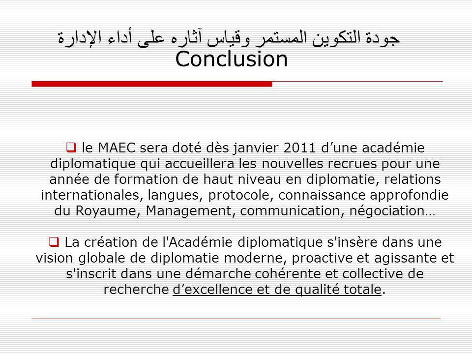 جودة التكوين المستمر وقياس آثاره على أداء الإدارة Conclusion le MAEC sera doté dès janvier 2011 dune académie diplomatique qui accueillera les nouvell