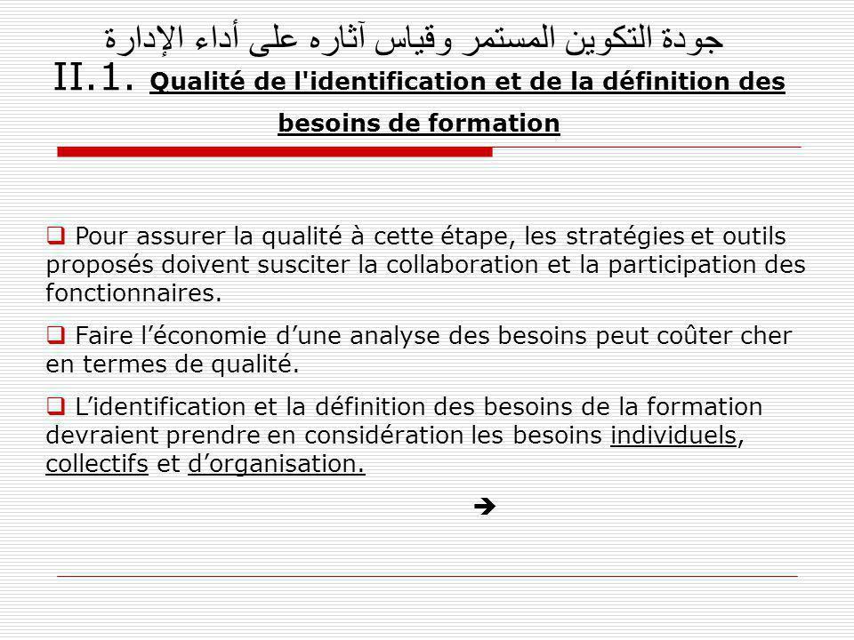 جودة التكوين المستمر وقياس آثاره على أداء الإدارة II.1.