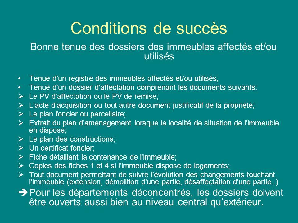 Conditions de succès Bonne tenue des dossiers des immeubles affectés et/ou utilisés Tenue dun registre des immeubles affectés et/ou utilisés; Tenue du