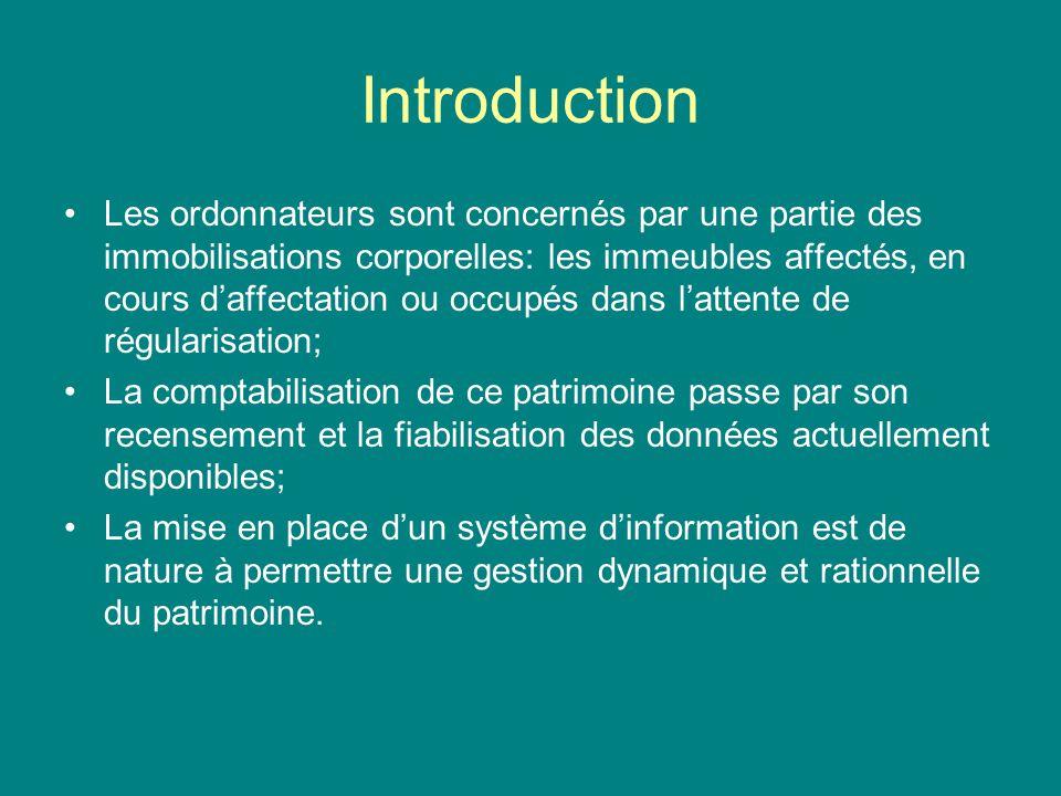 Introduction Les ordonnateurs sont concernés par une partie des immobilisations corporelles: les immeubles affectés, en cours daffectation ou occupés