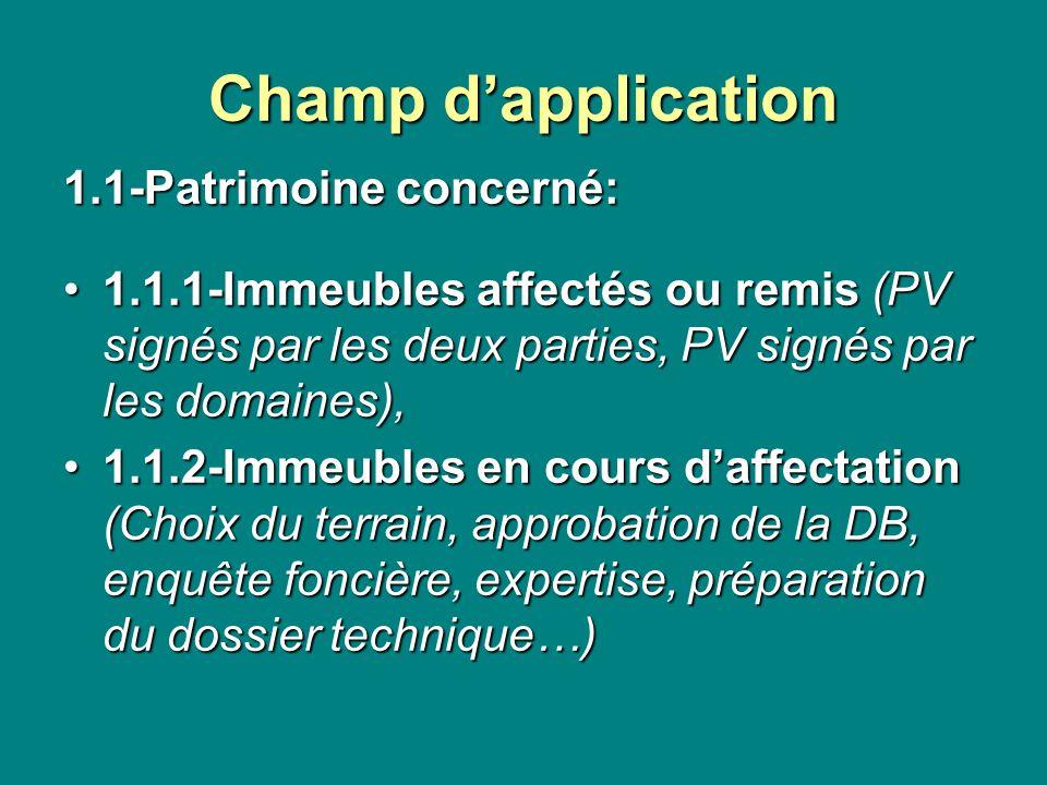 Champ dapplication 1.1-Patrimoine concerné: 1.1.1-Immeubles affectés ou remis (PV signés par les deux parties, PV signés par les domaines),1.1.1-Immeu