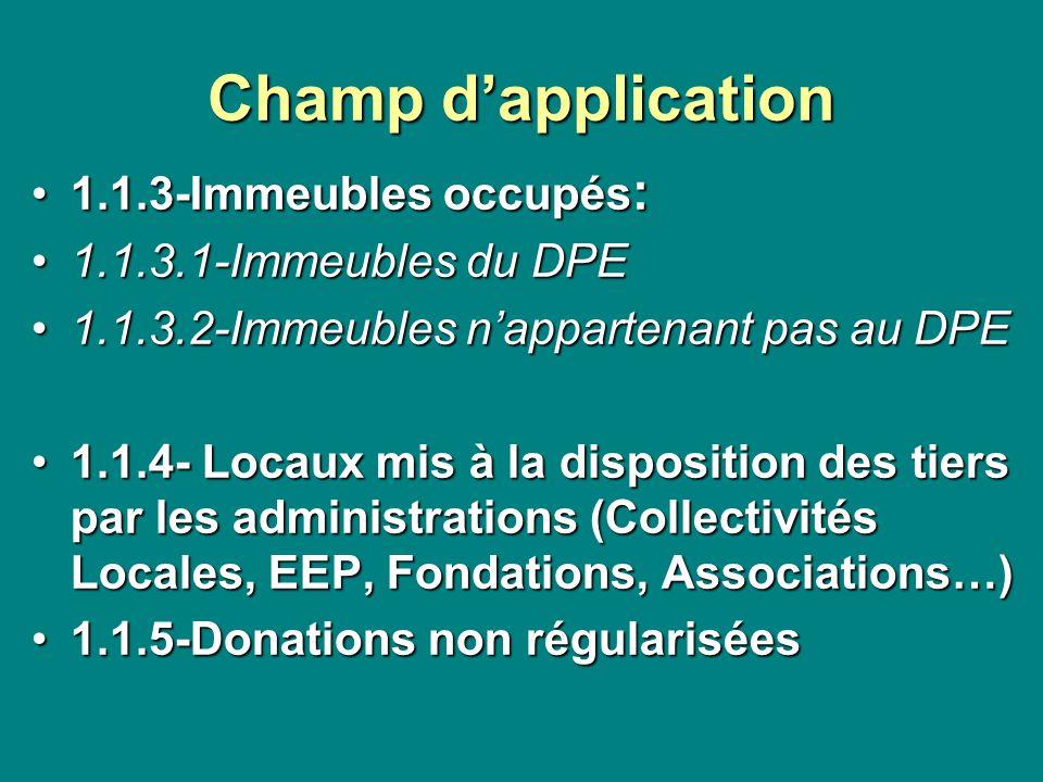 Champ dapplication 1.1.3-Immeubles occupés :1.1.3-Immeubles occupés : 1.1.3.1-Immeubles du DPE1.1.3.1-Immeubles du DPE 1.1.3.2-Immeubles nappartenant