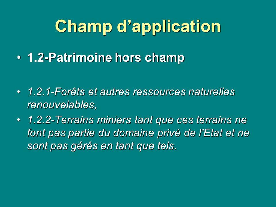 Champ dapplication 1.2-Patrimoine hors champ1.2-Patrimoine hors champ 1.2.1-Forêts et autres ressources naturelles renouvelables,1.2.1-Forêts et autre