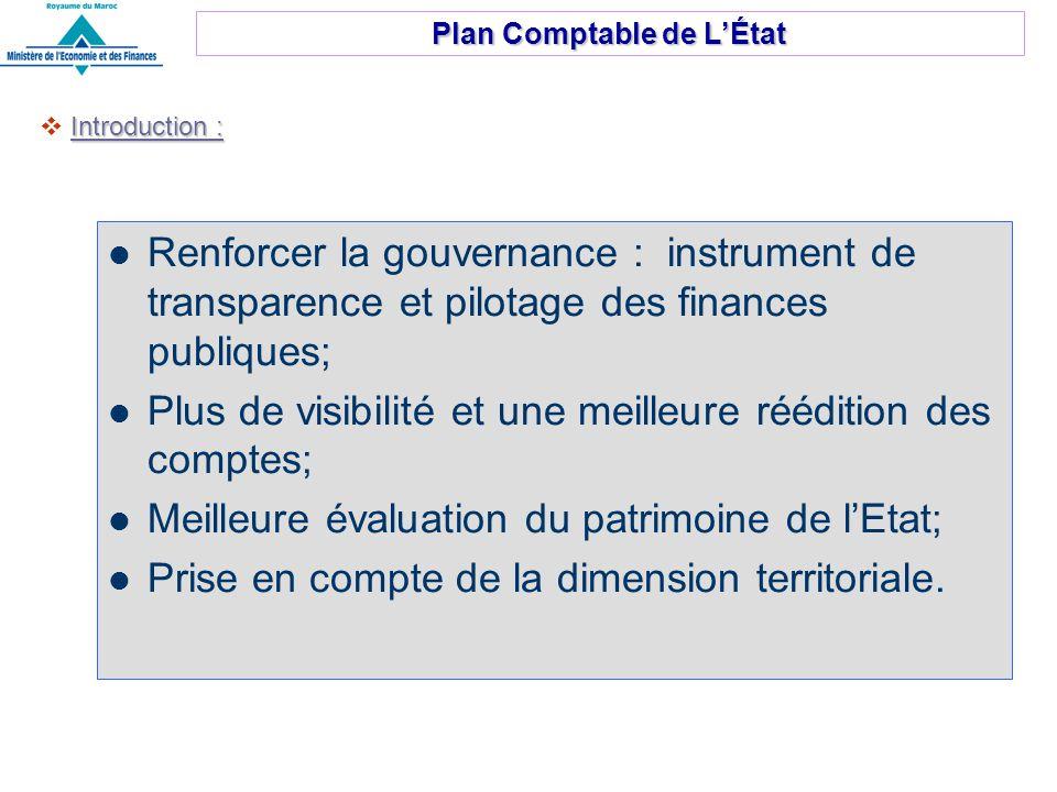 Renforcer la gouvernance : instrument de transparence et pilotage des finances publiques; Plus de visibilité et une meilleure réédition des comptes; Meilleure évaluation du patrimoine de lEtat; Prise en compte de la dimension territoriale.