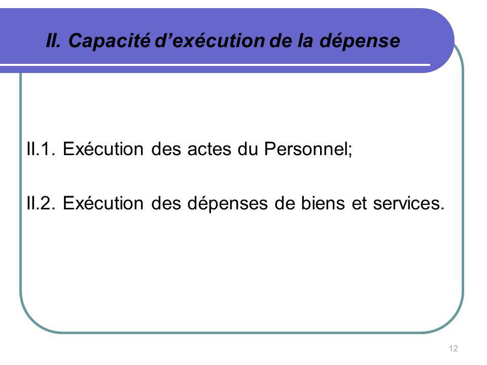 12 II. Capacité dexécution de la dépense II.1. Exécution des actes du Personnel; II.2. Exécution des dépenses de biens et services.