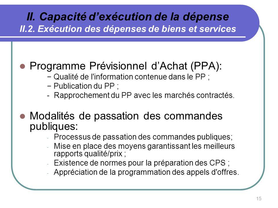 15 II. Capacité dexécution de la dépense II.2. Exécution des dépenses de biens et services Programme Prévisionnel dAchat (PPA): Qualité de l'informati