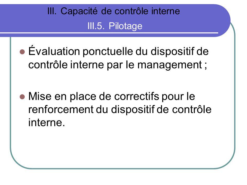 III. Capacité de contrôle interne III.5. Pilotage Évaluation ponctuelle du dispositif de contrôle interne par le management ; Mise en place de correct