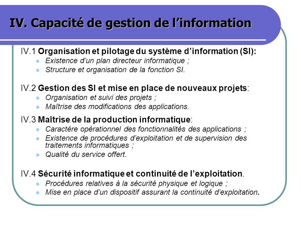 IV. Capacité de gestion de linformation IV.1 Organisation et pilotage du système dinformation (SI): Existence dun plan directeur informatique ; Struct