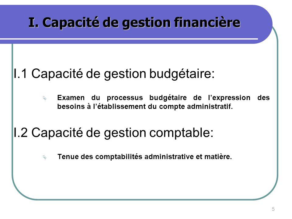 5 I. Capacité de gestion financière I.1 Capacité de gestion budgétaire: Examen du processus budgétaire de lexpression des besoins à létablissement du