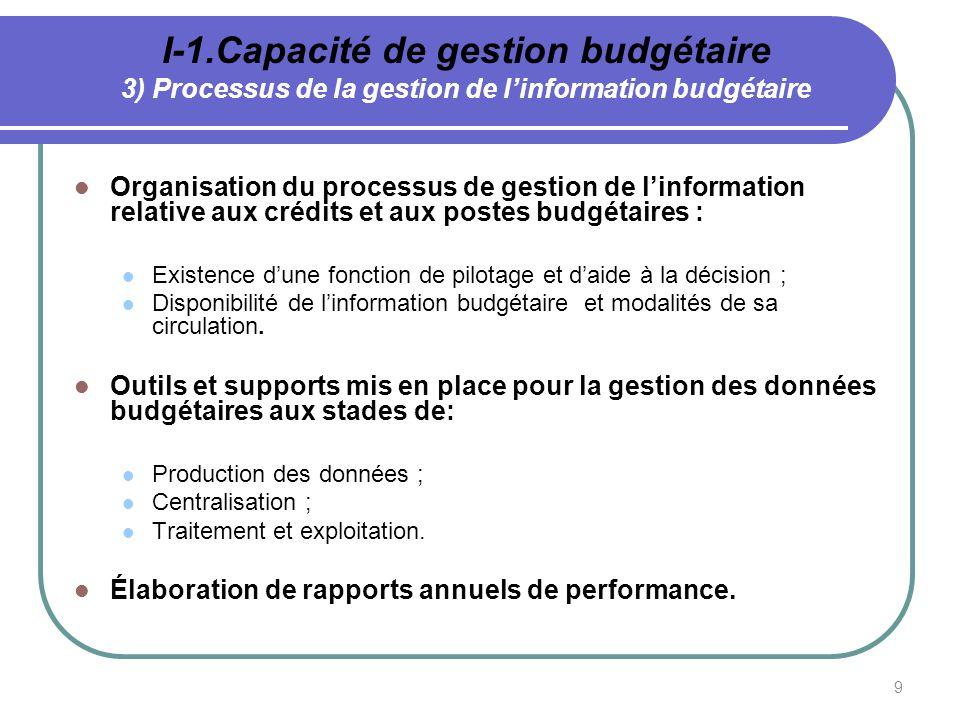 9 I-1.Capacité de gestion budgétaire 3) Processus de la gestion de linformation budgétaire Organisation du processus de gestion de linformation relati