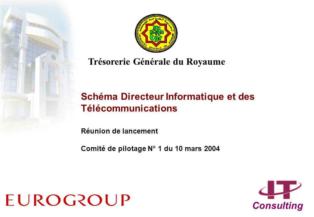 Schéma Directeur Informatique et des Télécommunications Réunion de lancement Comité de pilotage N° 1 du 10 mars 2004 Consulting Trésorerie Générale du