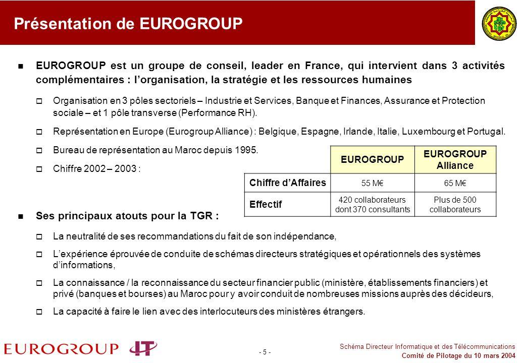 - 5 - Schéma Directeur Informatique et des Télécommunications Comité de Pilotage du 10 mars 2004 Présentation de EUROGROUP EUROGROUP est un groupe de