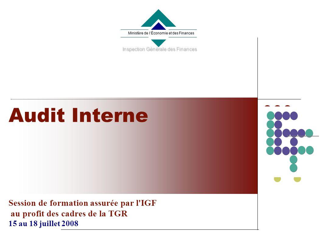Audit Interne Session de formation assurée par l IGF au profit des cadres de la TGR 15 au 18 juillet 2008 Ministère de lÉconomie et des Finances Inspection Générale des Finances