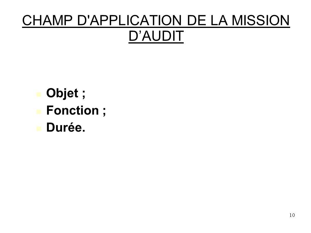 10 CHAMP D APPLICATION DE LA MISSION DAUDIT Objet ; Fonction ; Durée.