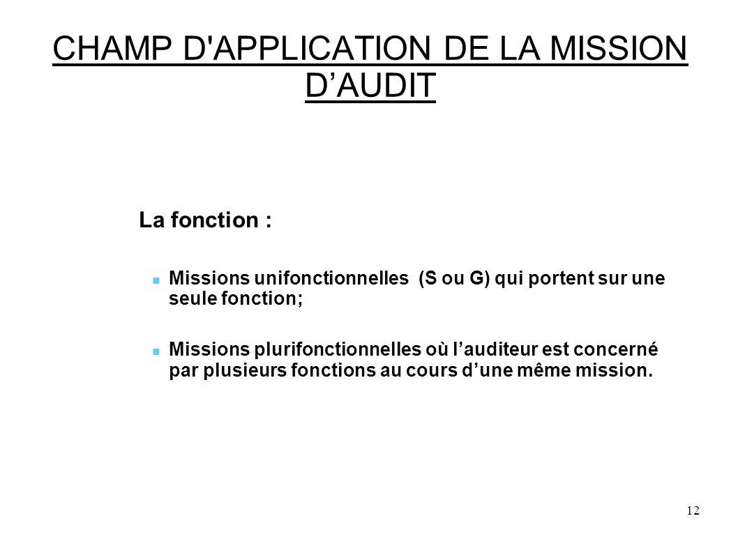 12 CHAMP D APPLICATION DE LA MISSION DAUDIT La fonction : Missions unifonctionnelles (S ou G) qui portent sur une seule fonction; Missions plurifonctionnelles où lauditeur est concerné par plusieurs fonctions au cours dune même mission.