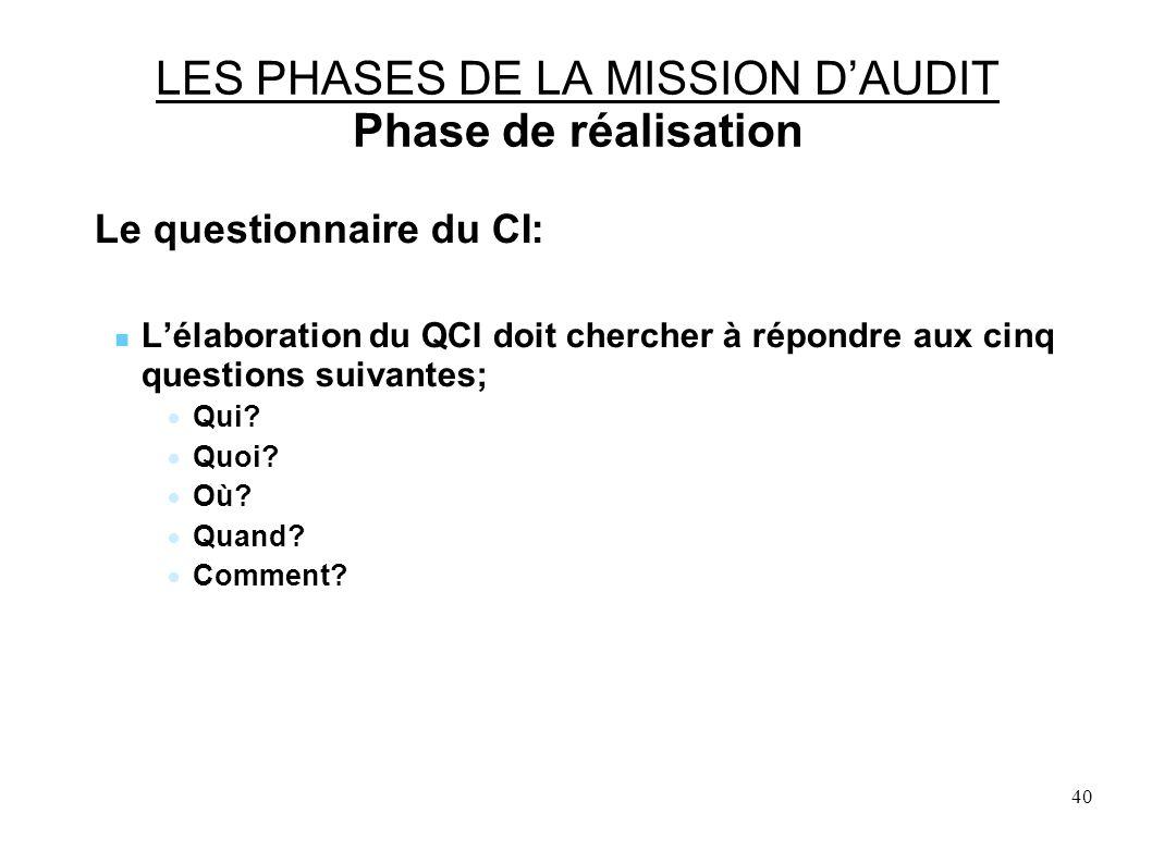 40 LES PHASES DE LA MISSION DAUDIT Phase de réalisation Le questionnaire du CI: Lélaboration du QCI doit chercher à répondre aux cinq questions suivantes; Qui.